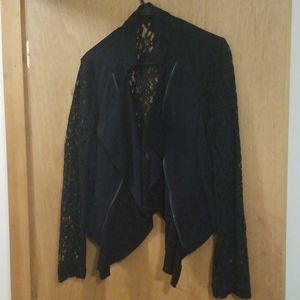 Lacy Black Embroidered Blazer